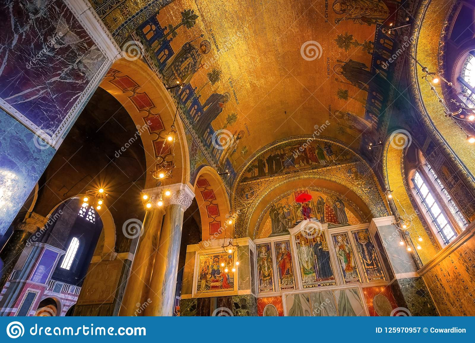 b5dfefee5 ... or the Metropolitan Cathedral of the Precious Blood of Our Lord Jesus  Christ designed by John Francis Bentley and opened in 1903 in neo-Byzantine  style