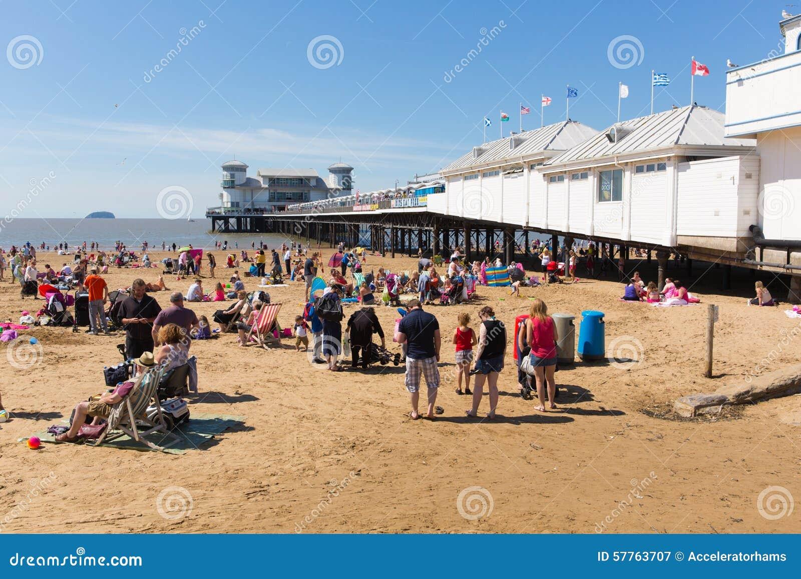 weston super mare beach and pier somerset in summer. Black Bedroom Furniture Sets. Home Design Ideas