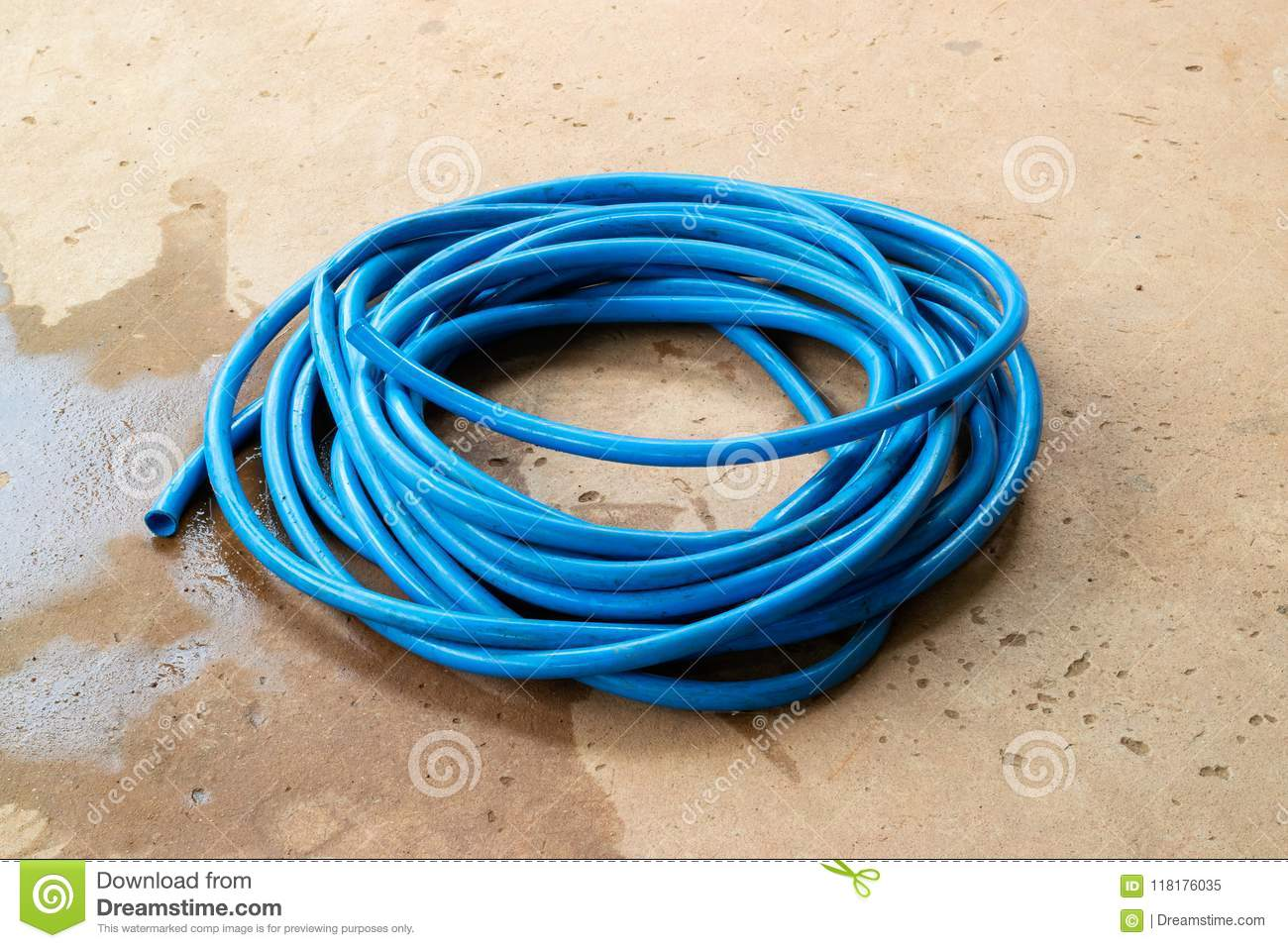 Download comp & The Blue Water Hose Lay Down On The Floor Stock Image - Image of ...