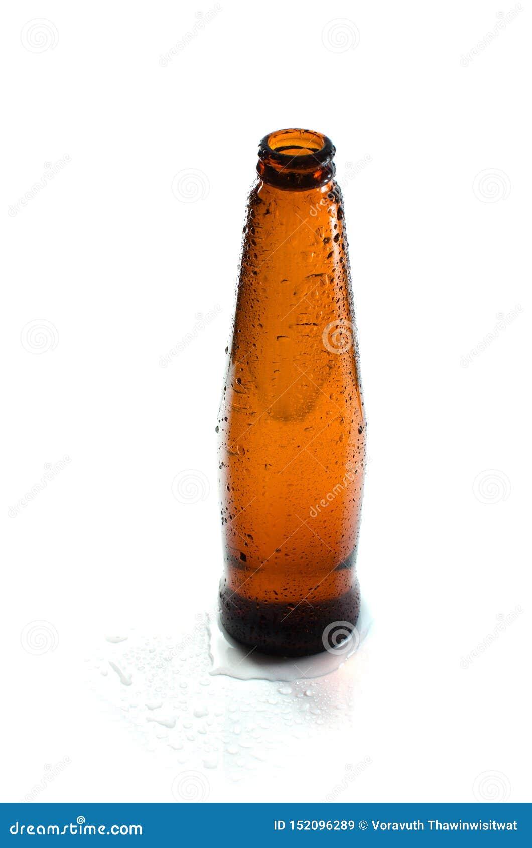 Wet bottle on white background