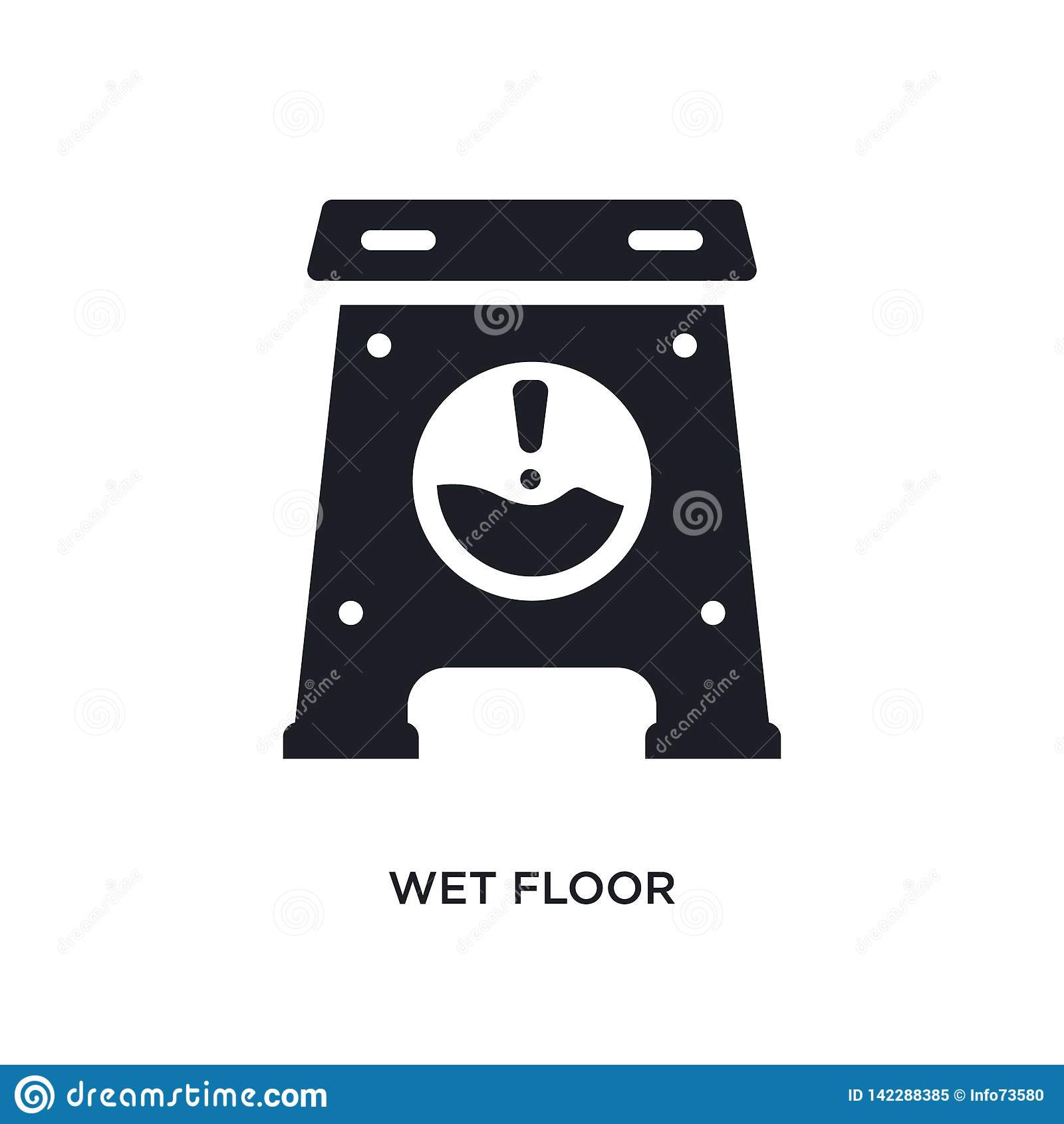 wet floor isolated icon. simple element illustration from cleaning concept icons. wet floor editable logo sign symbol design on