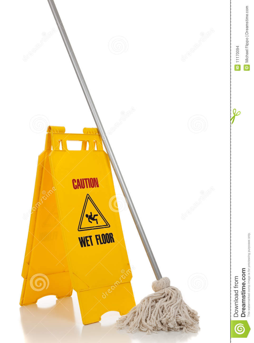 Wet floor sign and mop on white background stock images for Floor banner
