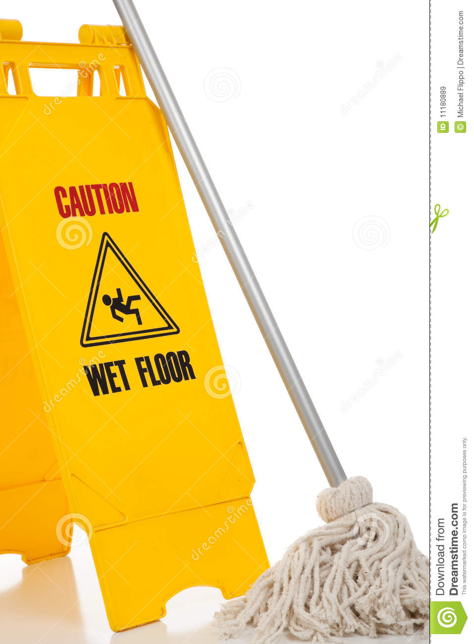 Wet Floor Sign And Mop On White Background Stock Image