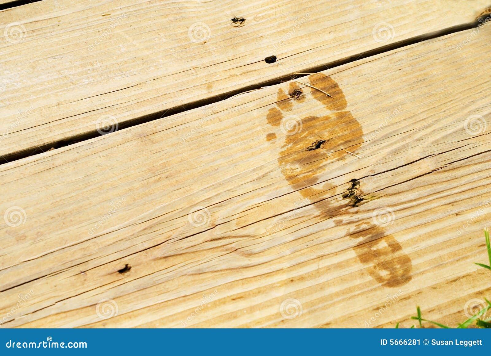 Wet Footprint on Wood Deck