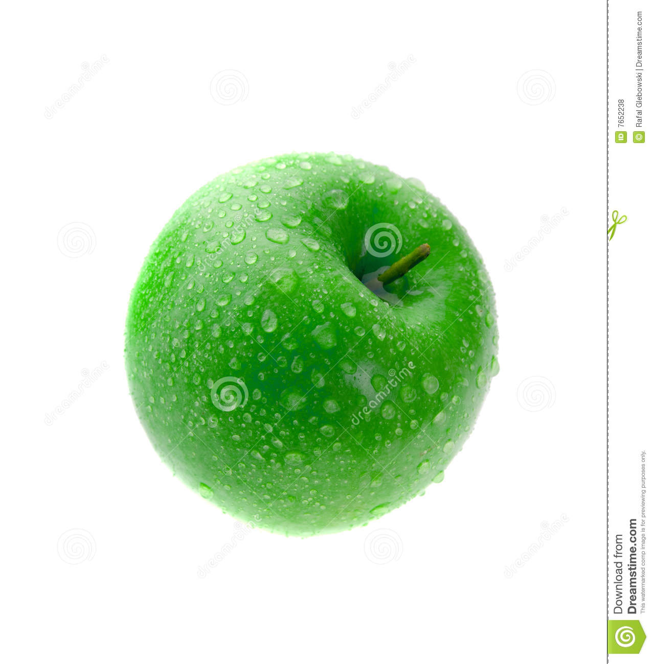 Wet green apple isolated on white