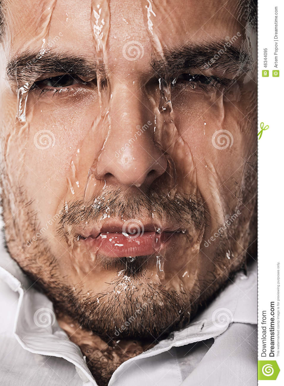 Wet Man With Flowing Water Stock Image Image Of Ideas