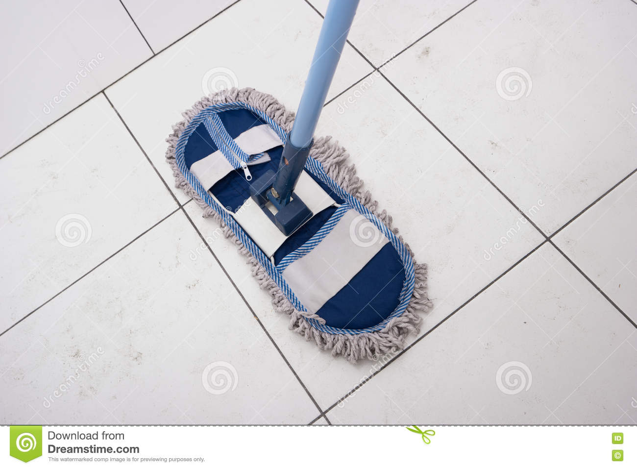 Wet Mop On The Dirty White Tiles. Stock Image - Image of cleaner ...