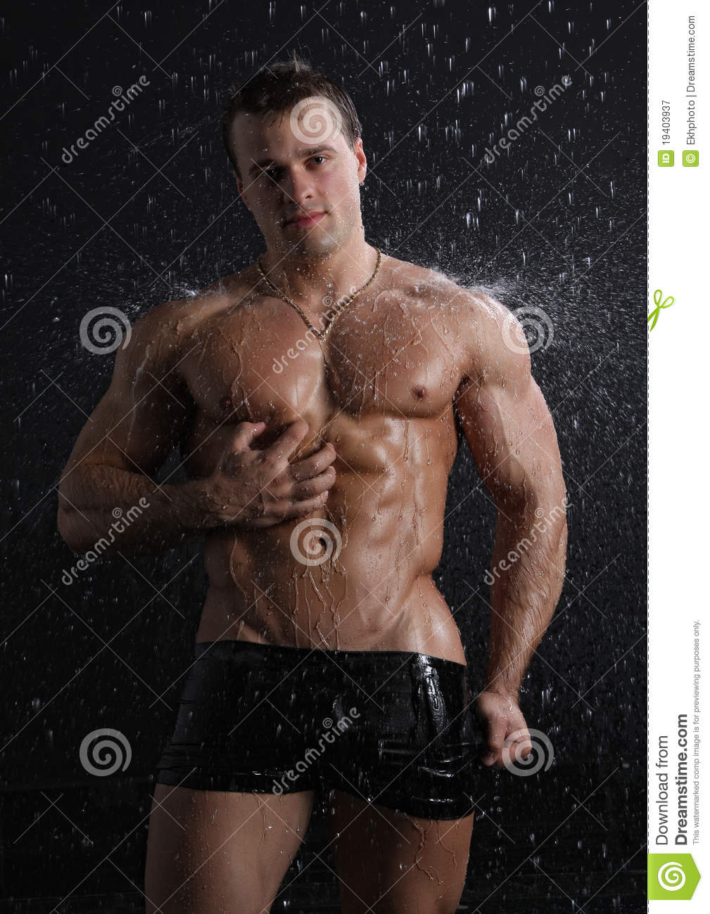 Images Of Wet Muscle Sey Young Man Posing Under The Rain Royalty Free
