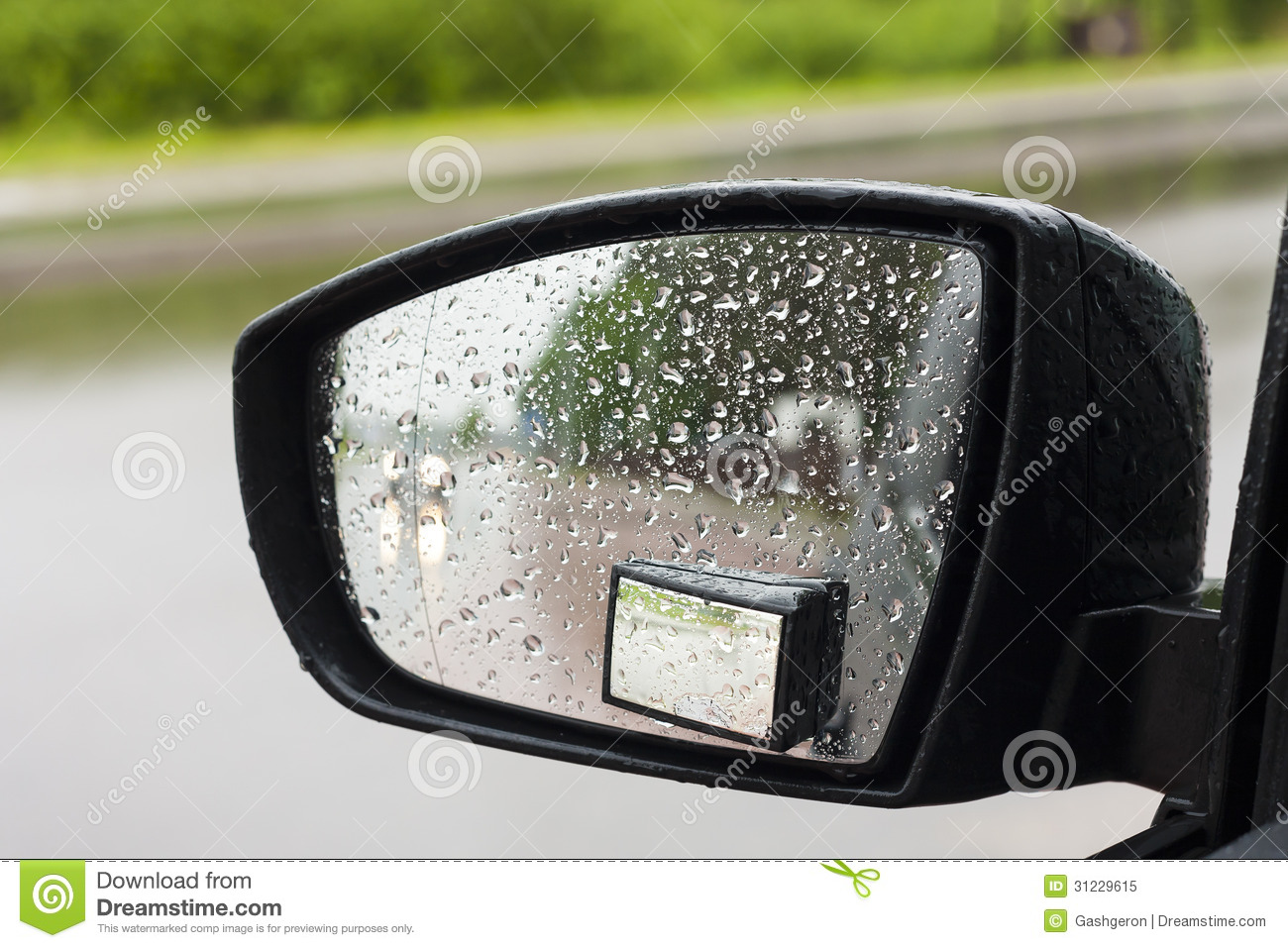 Wet By The Rain The Car Mirror. Royalty Free Stock Photo