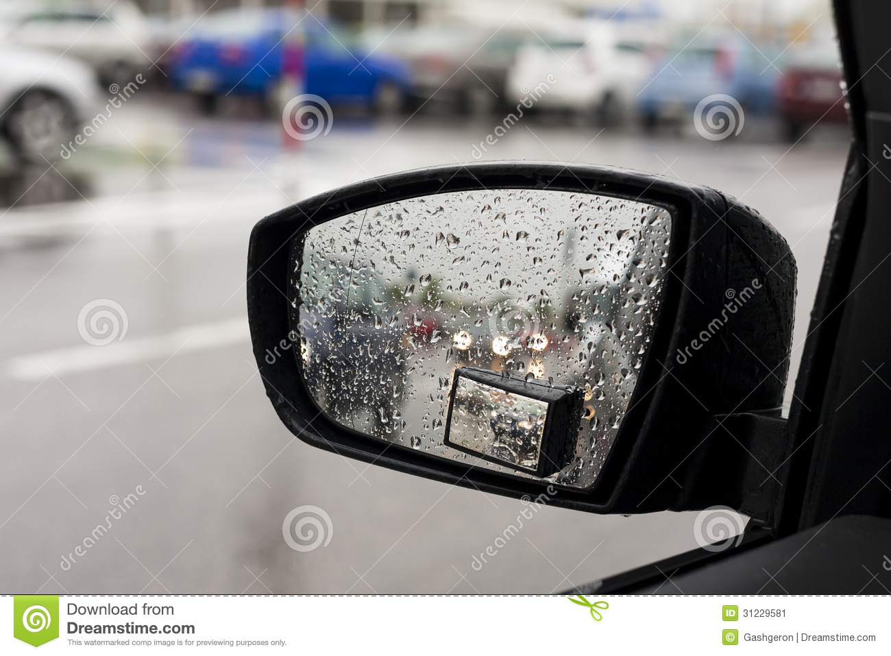 Wet By The Rain The Car Mirror, Blurry Cars In Mirror
