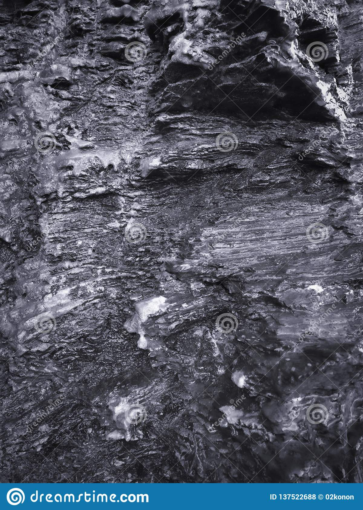 Wet rock, stone formations as background