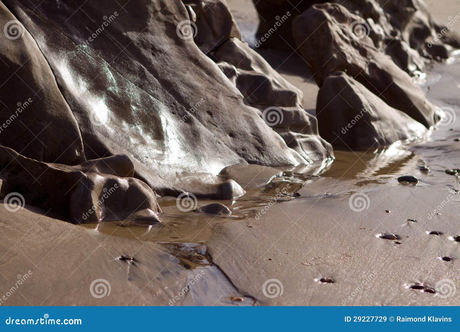 Wet sand on the coast