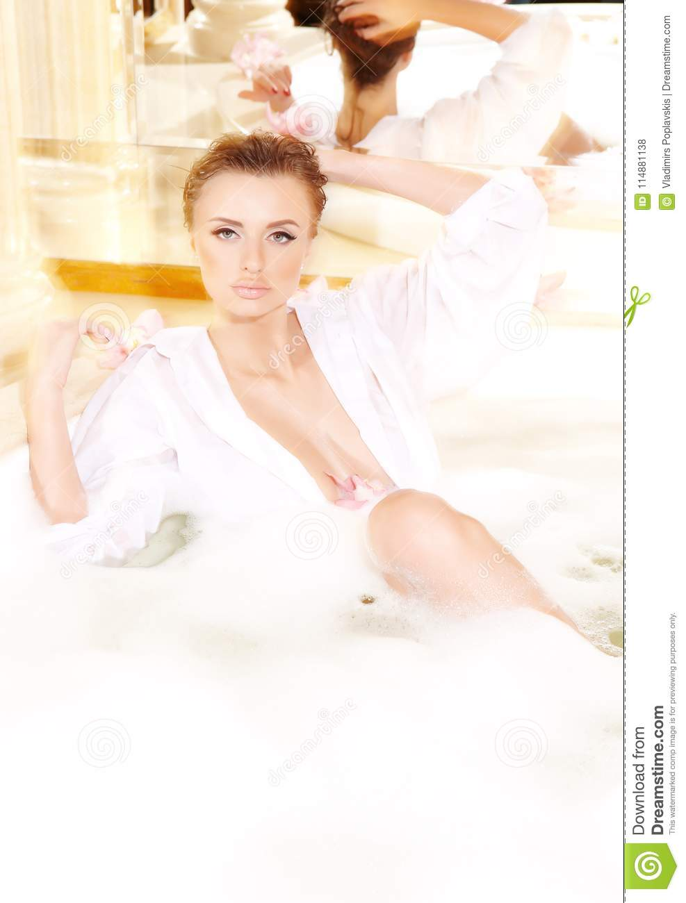 Wet Blond Woman In A White Dressing Gown. Stock Photo - Image of ...