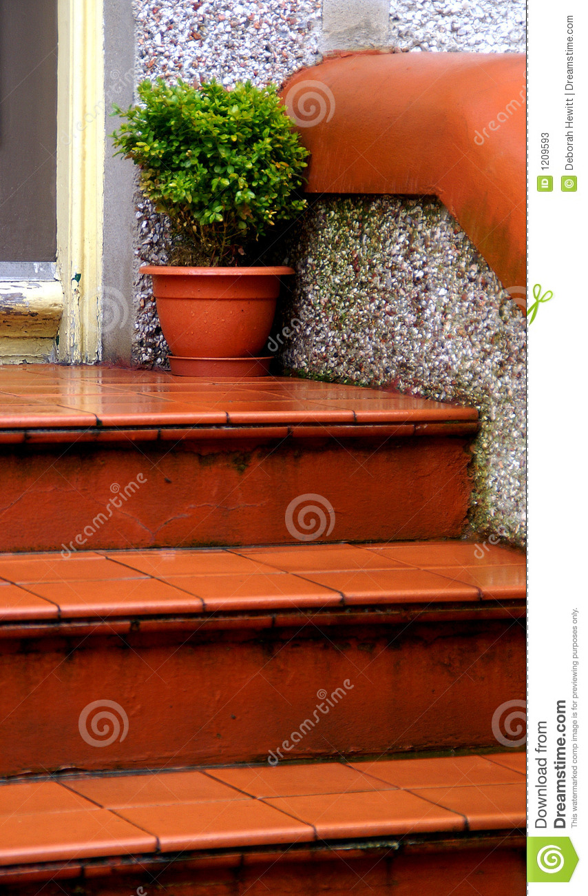 Wet Terra Cotta Tile Steps Stock Image Image Of Cotta