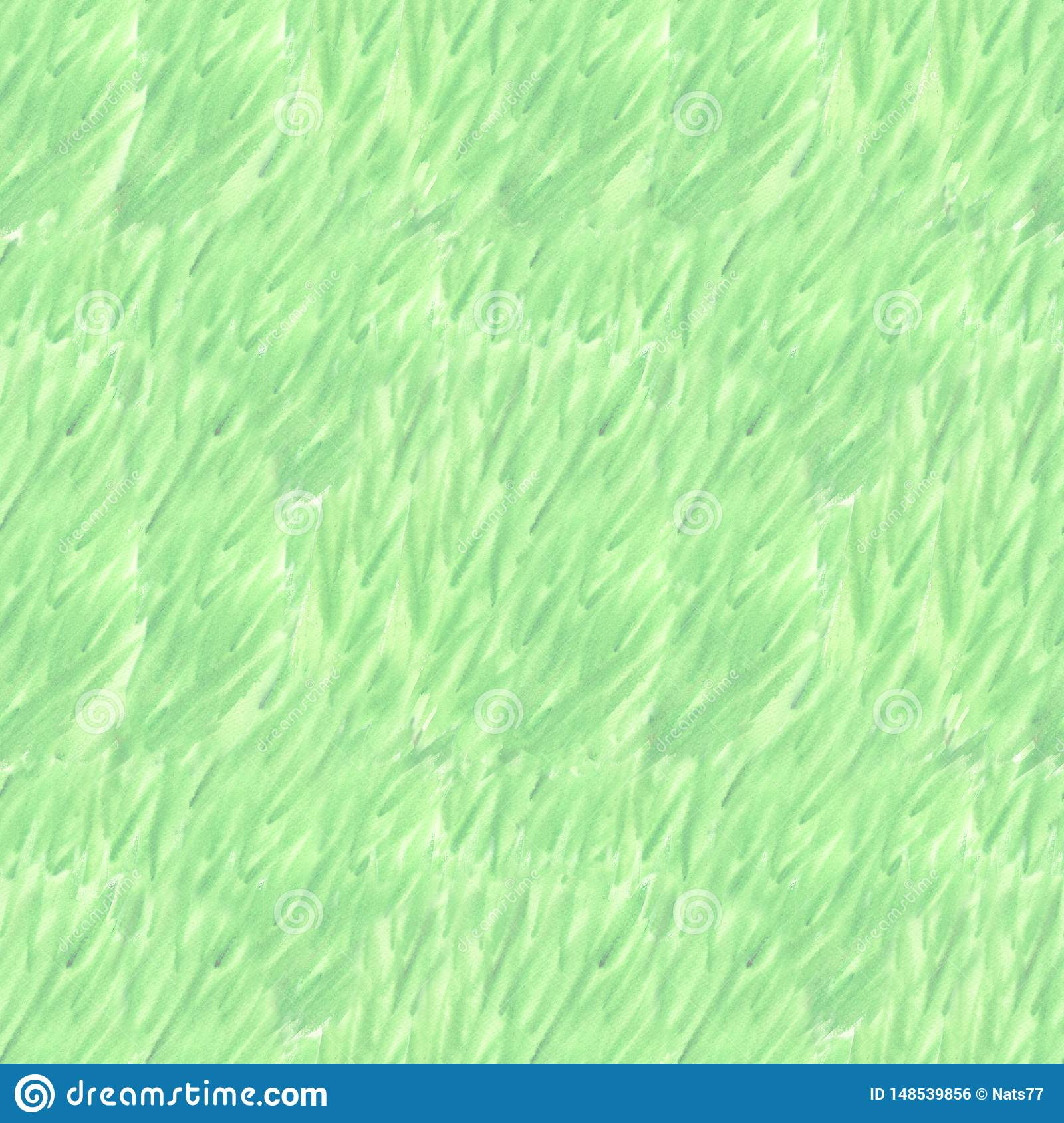 Wet watercolor green seamless pattern with color blurred stripes. Repeat straight stripes texture background. Hand