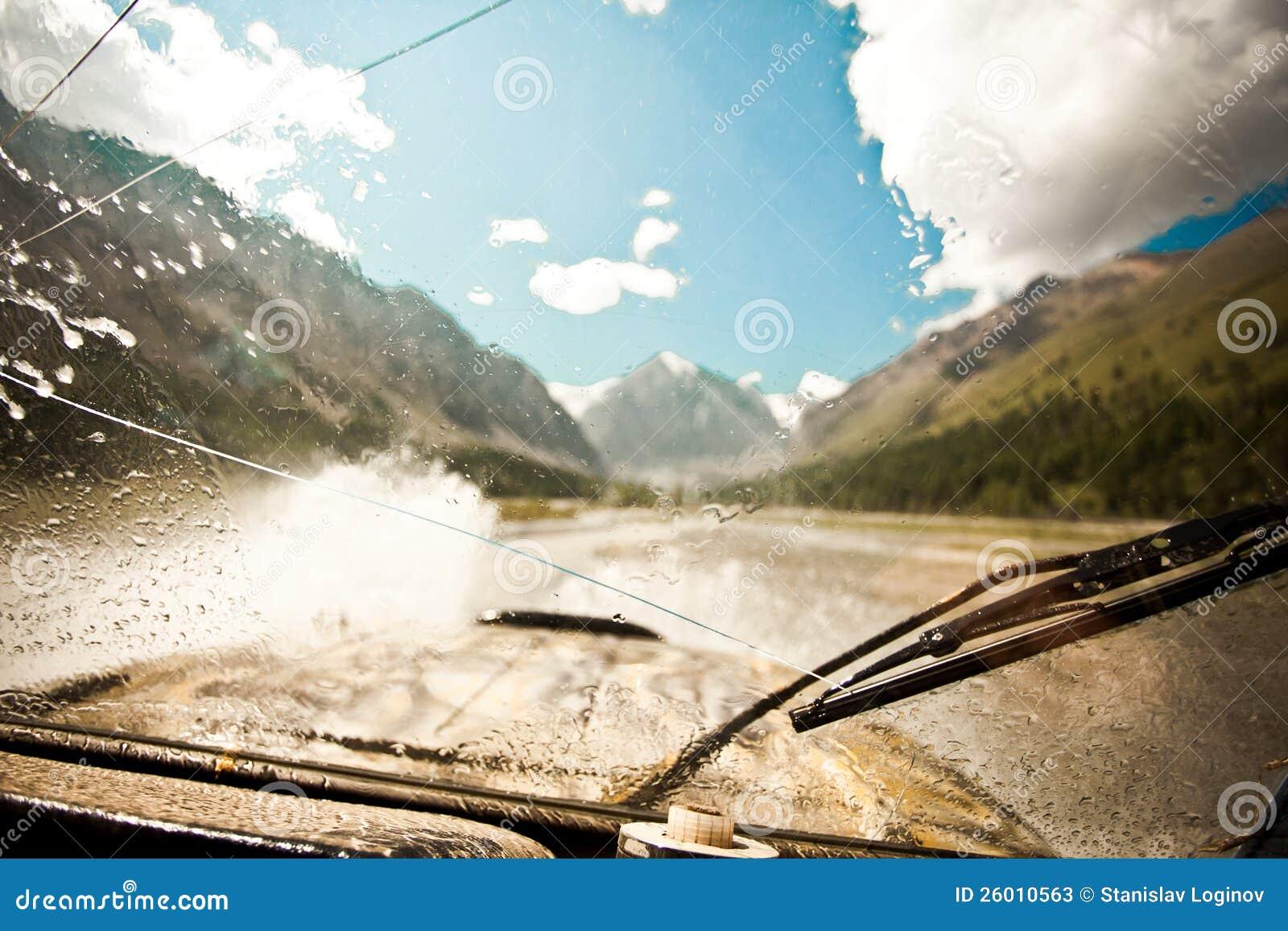 Wet Windshield Off Road Car
