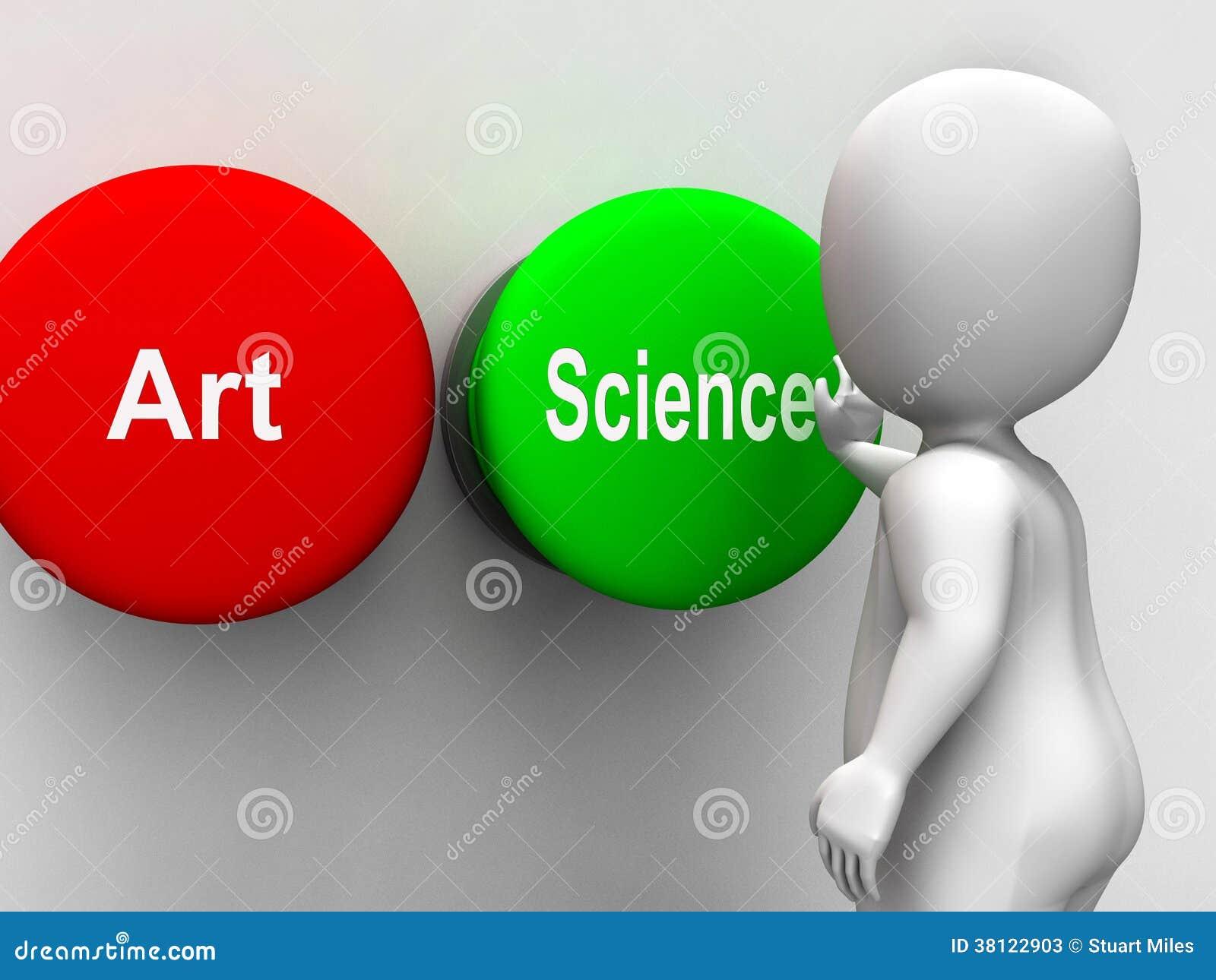Wetenschap Artistiek Art Buttons Shows Scientific Or