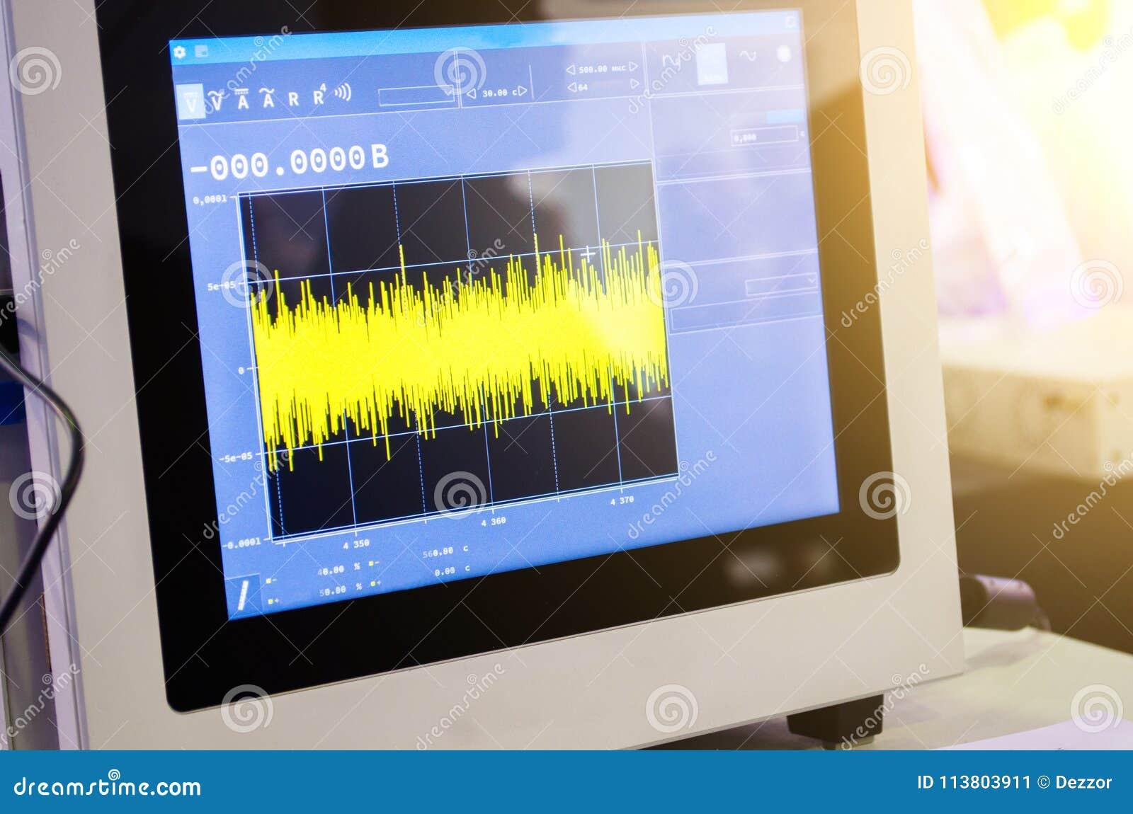Wetenschappelijke gegevens van de grafieken van de ontdekkingsmeting over de monitor van de moderne oscilloscoop