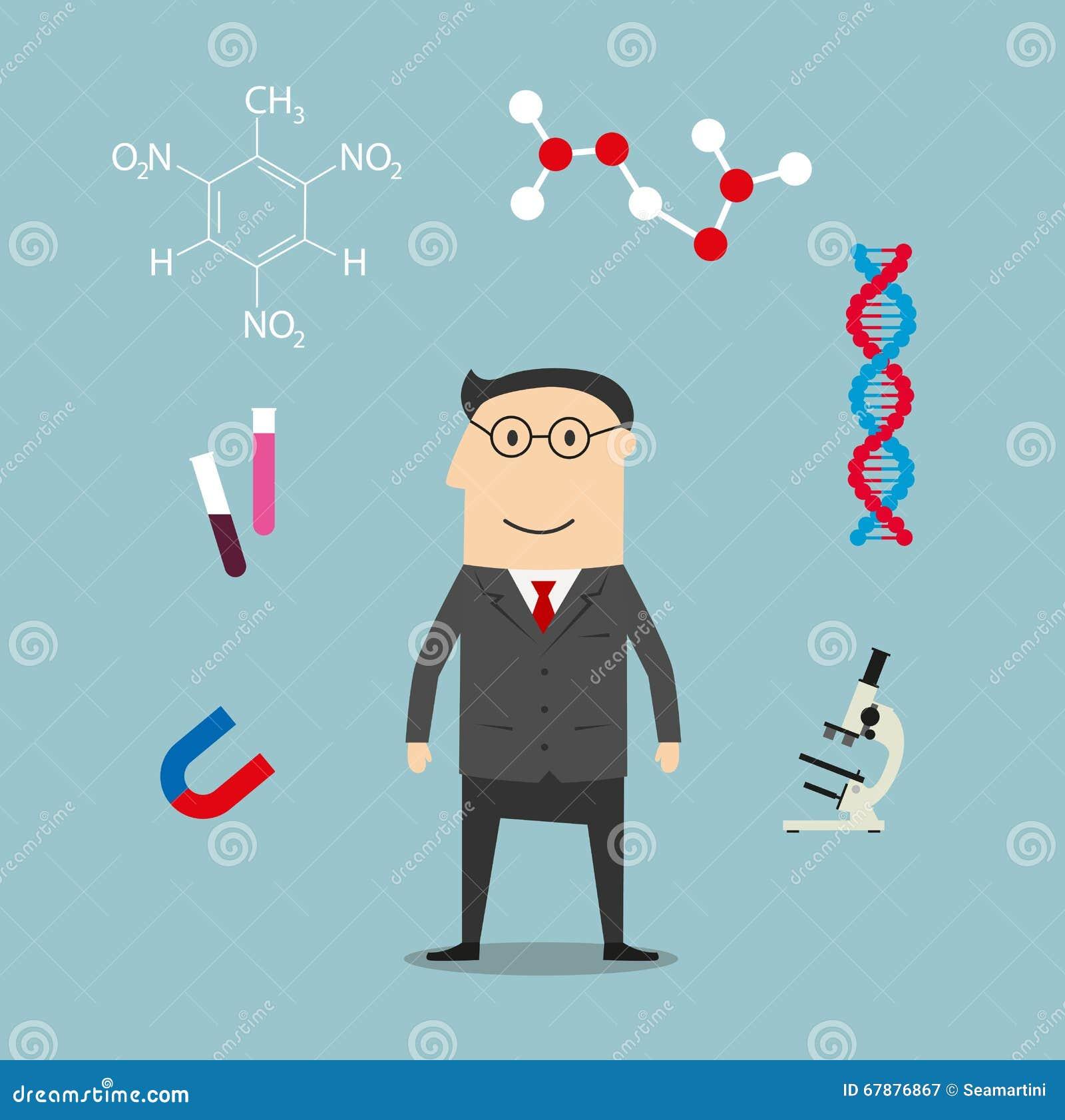 Wetenschapper en wetenschapselementenpictogrammen