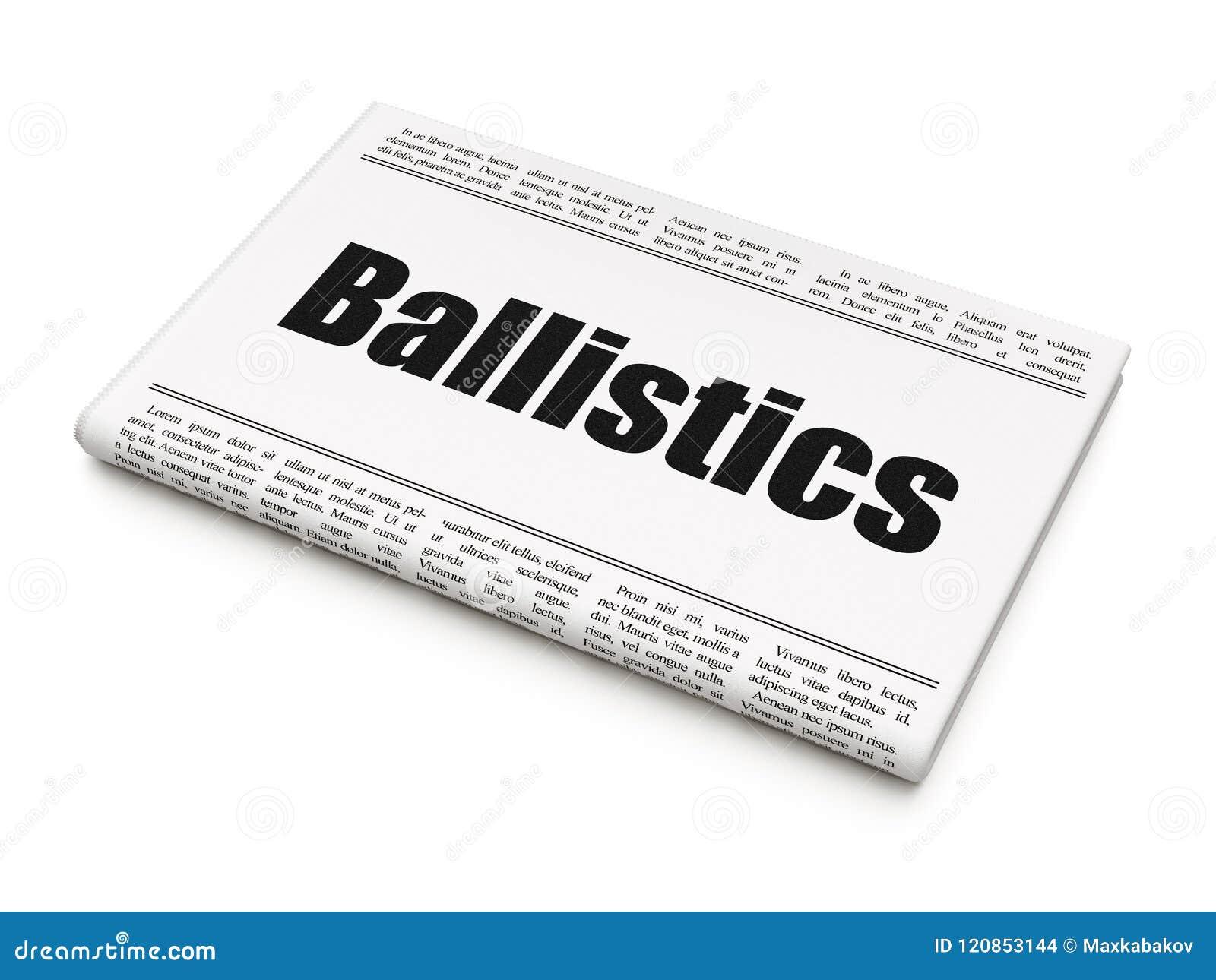 Wetenschapsconcept: de Ballistiek van de krantenkrantekop