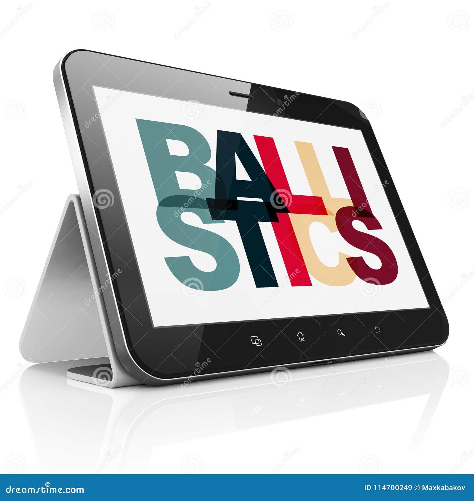 Wetenschapsconcept: Tabletcomputer met Ballistiek op vertoning