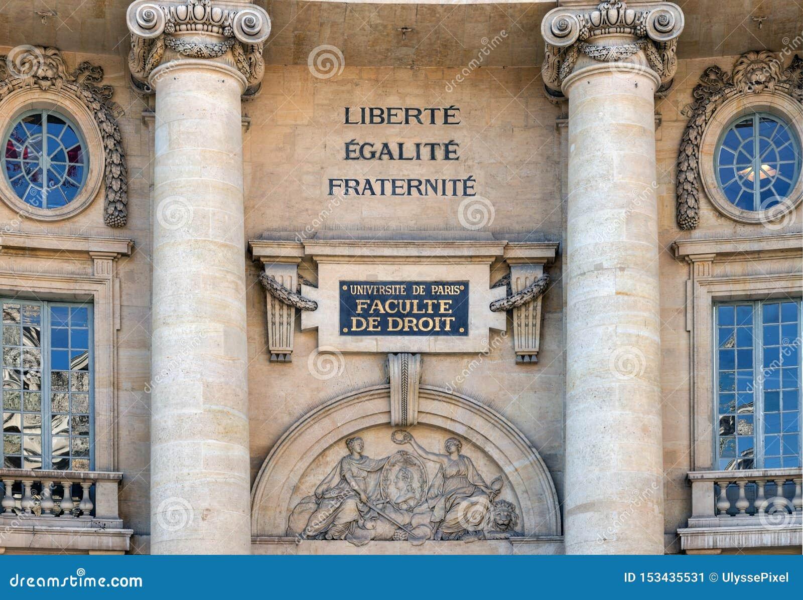 Wetsfaculteit de bouw van Sorbonne, Universiteit van Parijs