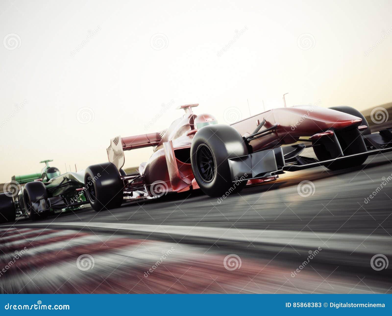 Wettbewerbsfähiges Teamlaufen der Motorsporte Sich schnell bewegendes generisches Rennwagenlaufen hinunter die Bahn