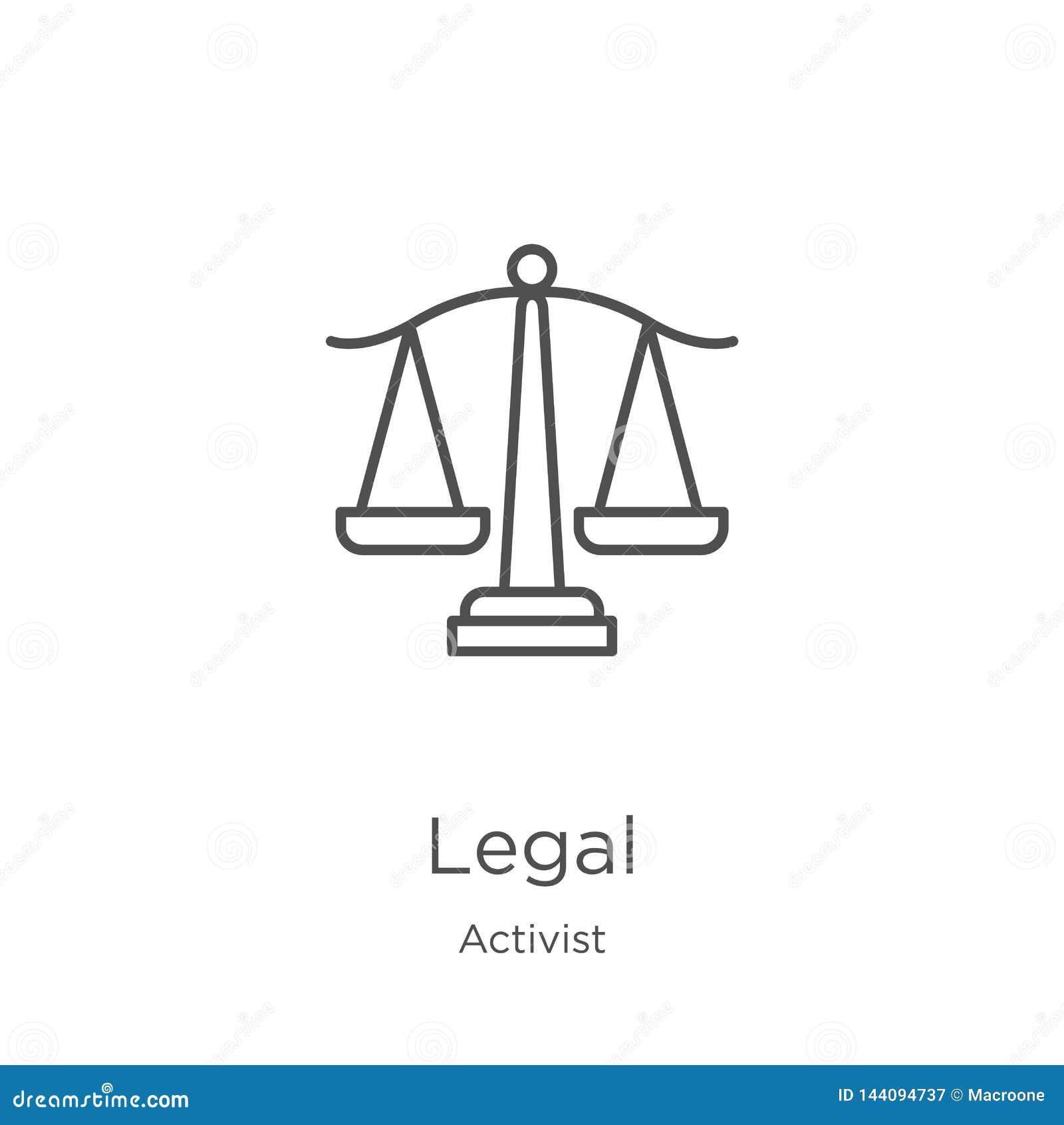 Wettelijke pictogramvector van activisteninzameling Dunne het pictogram vectorillustratie van het lijn wettelijke overzicht Overz