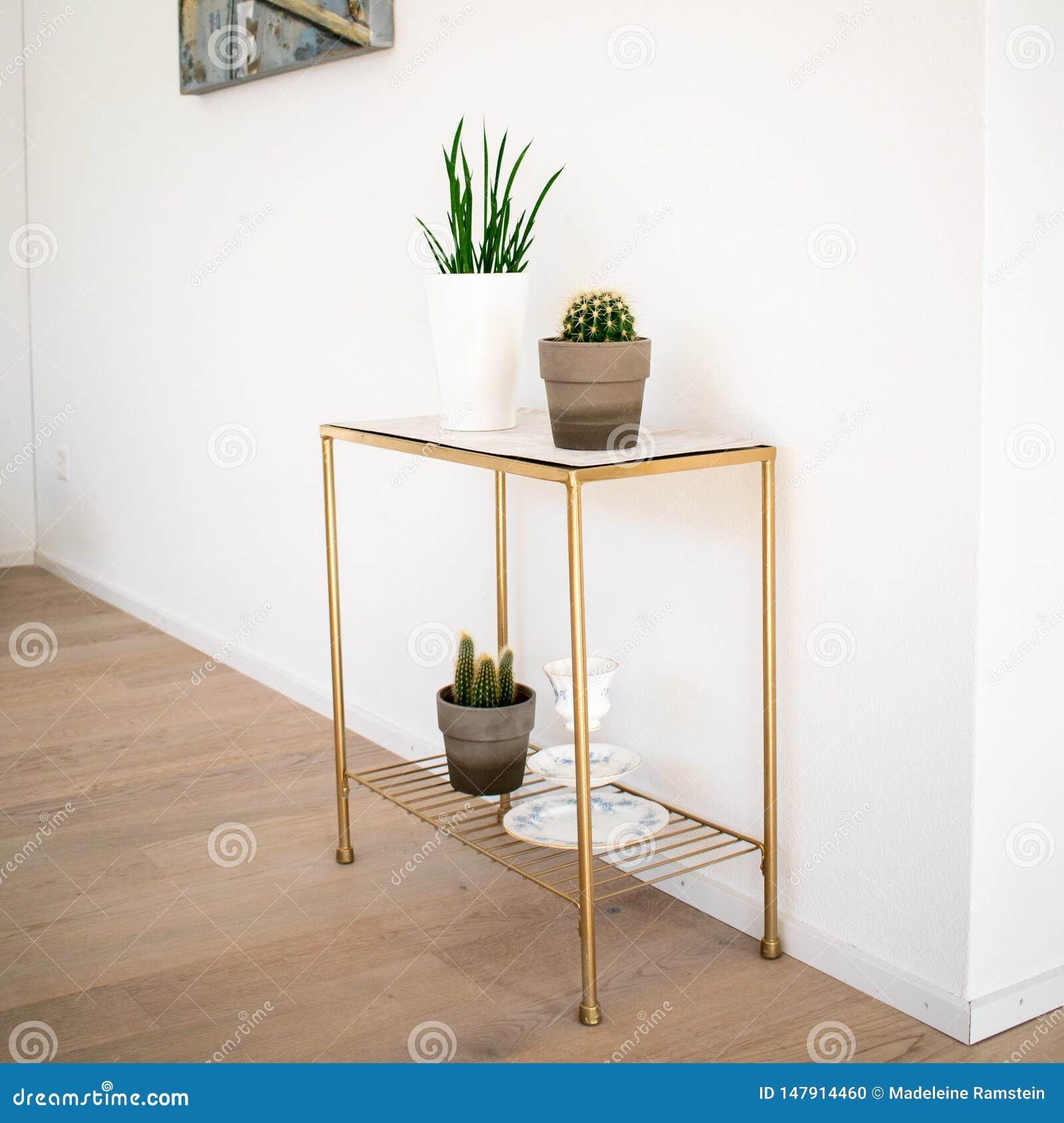 Wewnętrzna dekoracja; marmur strony stół z salowymi roślinami na parkietowej podłodze
