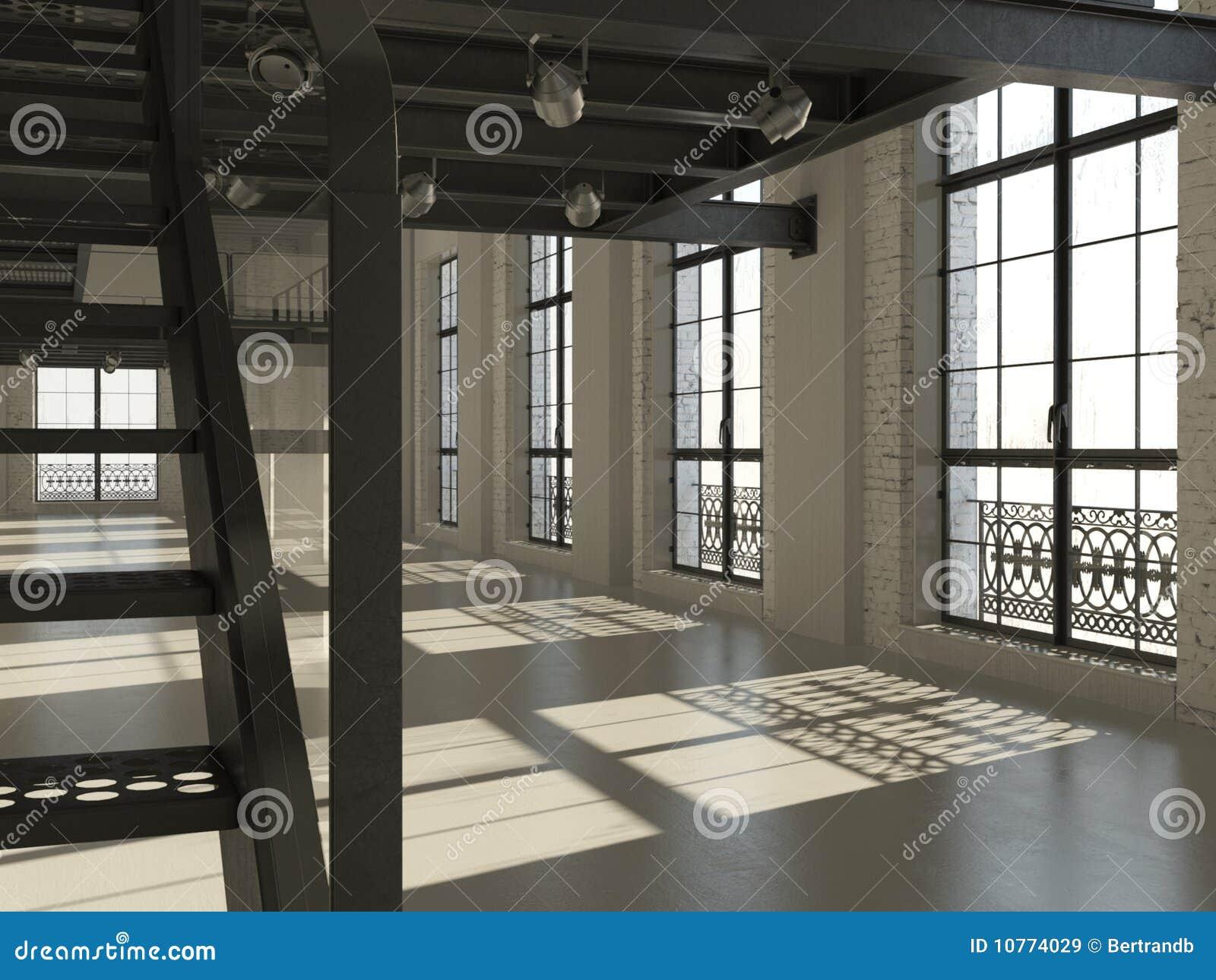 Wewnętrznego loft minimalistyczny biel