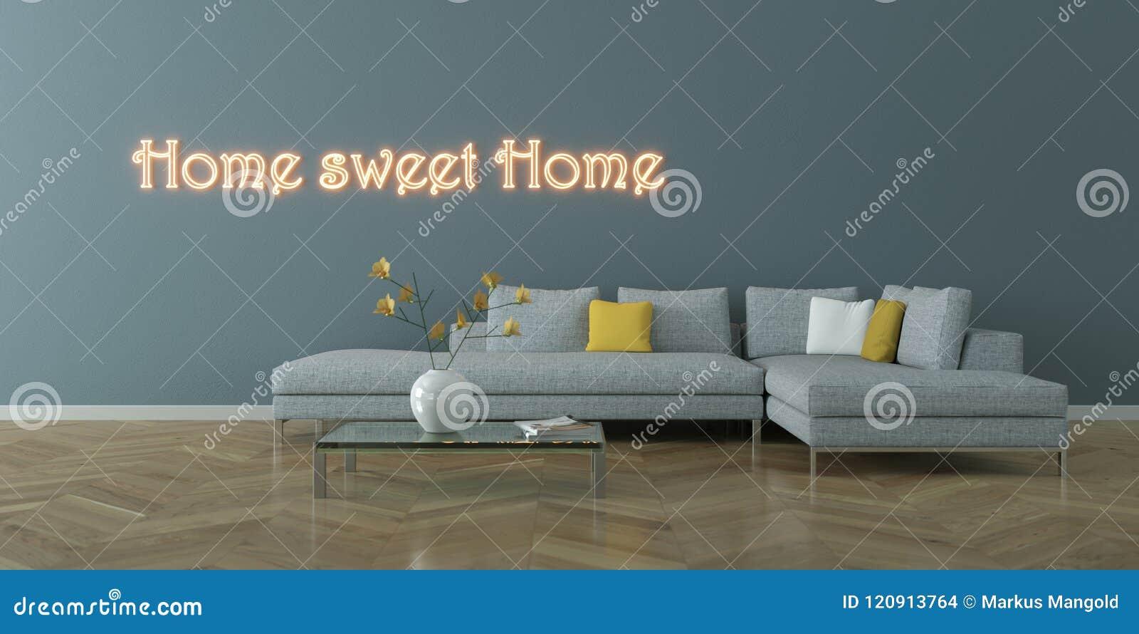 Wewnętrznego projekta nowożytny jaskrawy pokój z popielatą kanapą