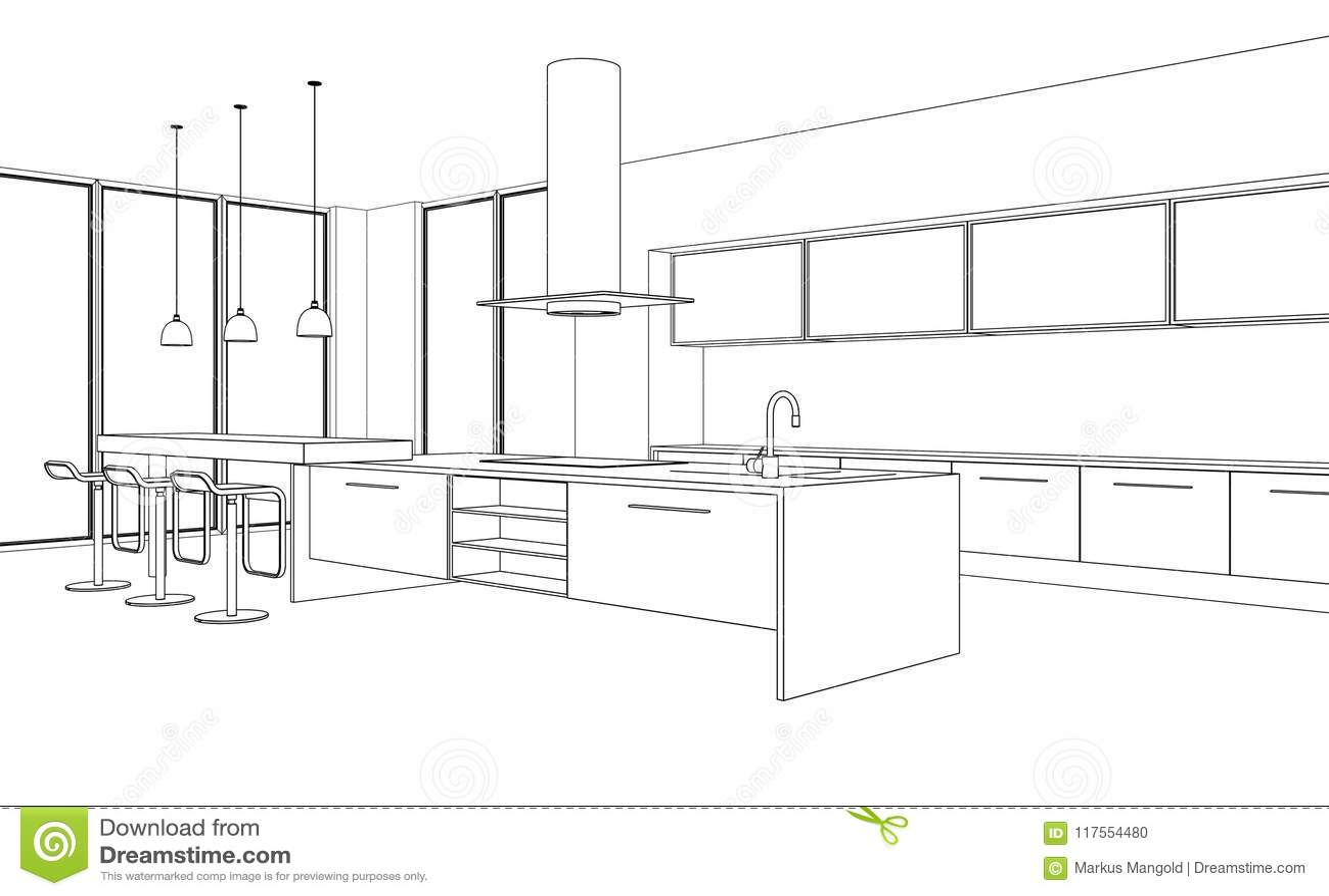 Wewnętrznego projekta rysunku nowożytny Kuchenny plan