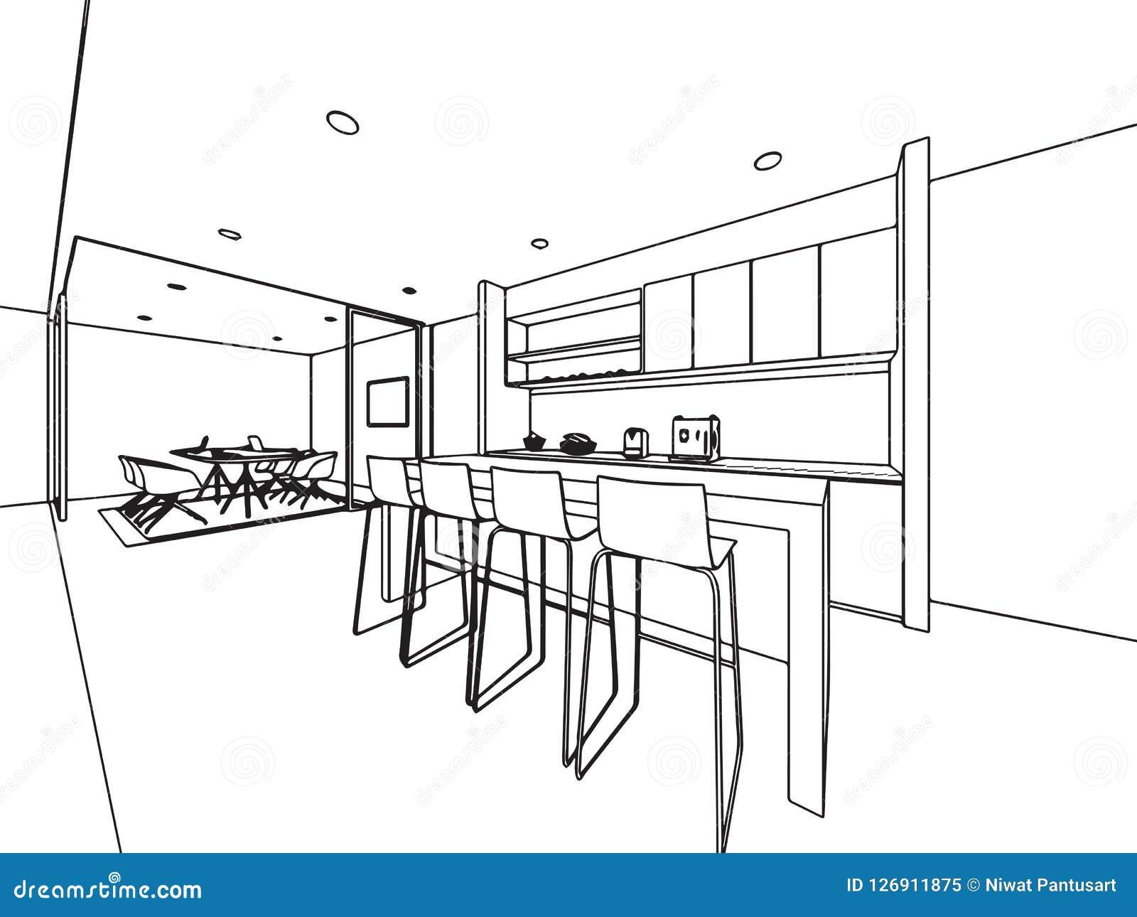 Wewnętrzny konturu nakreślenia rysunku perspektywy biuro