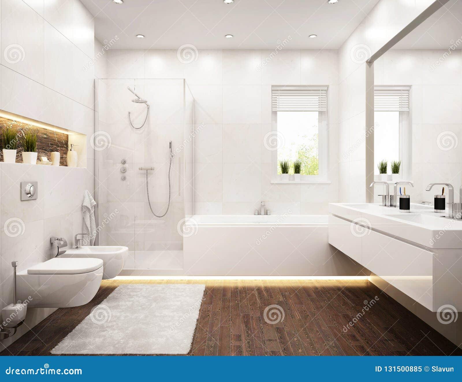 Wewnętrzny Projekt Biała łazienka Z Okno Obraz Stock Obraz