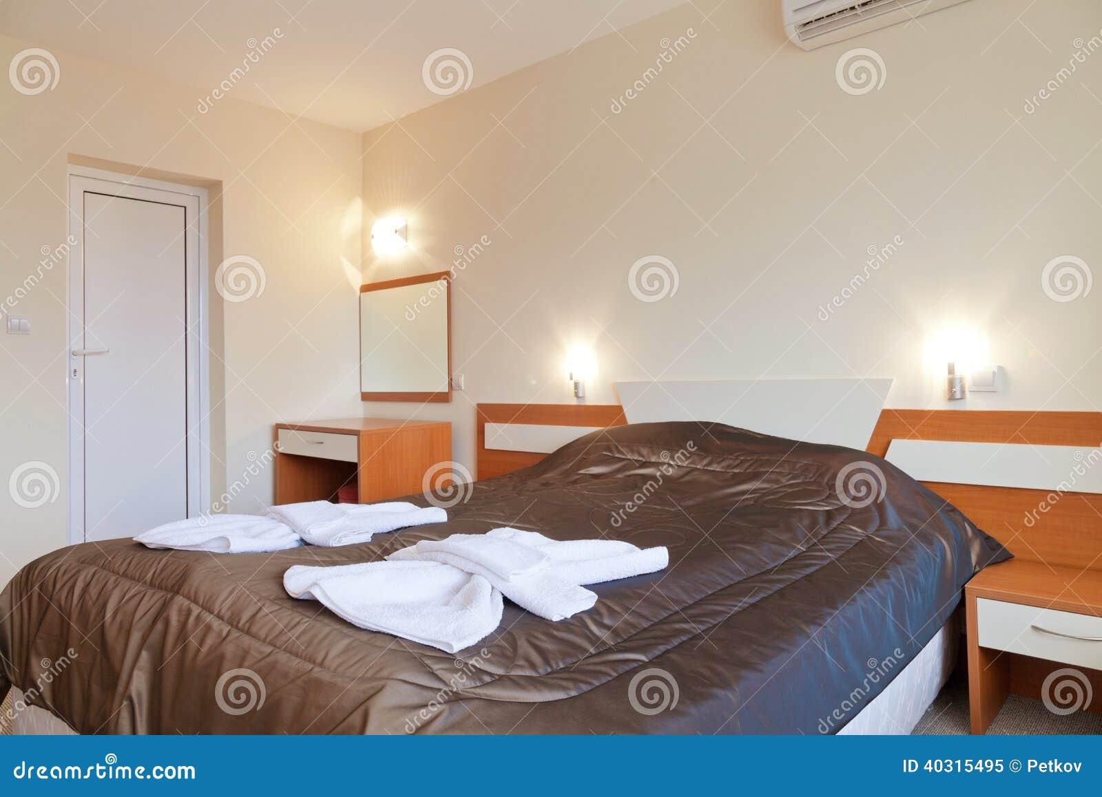 Wewnętrzny Projekt Mała Sypialnia W Hotelu Obraz Stock