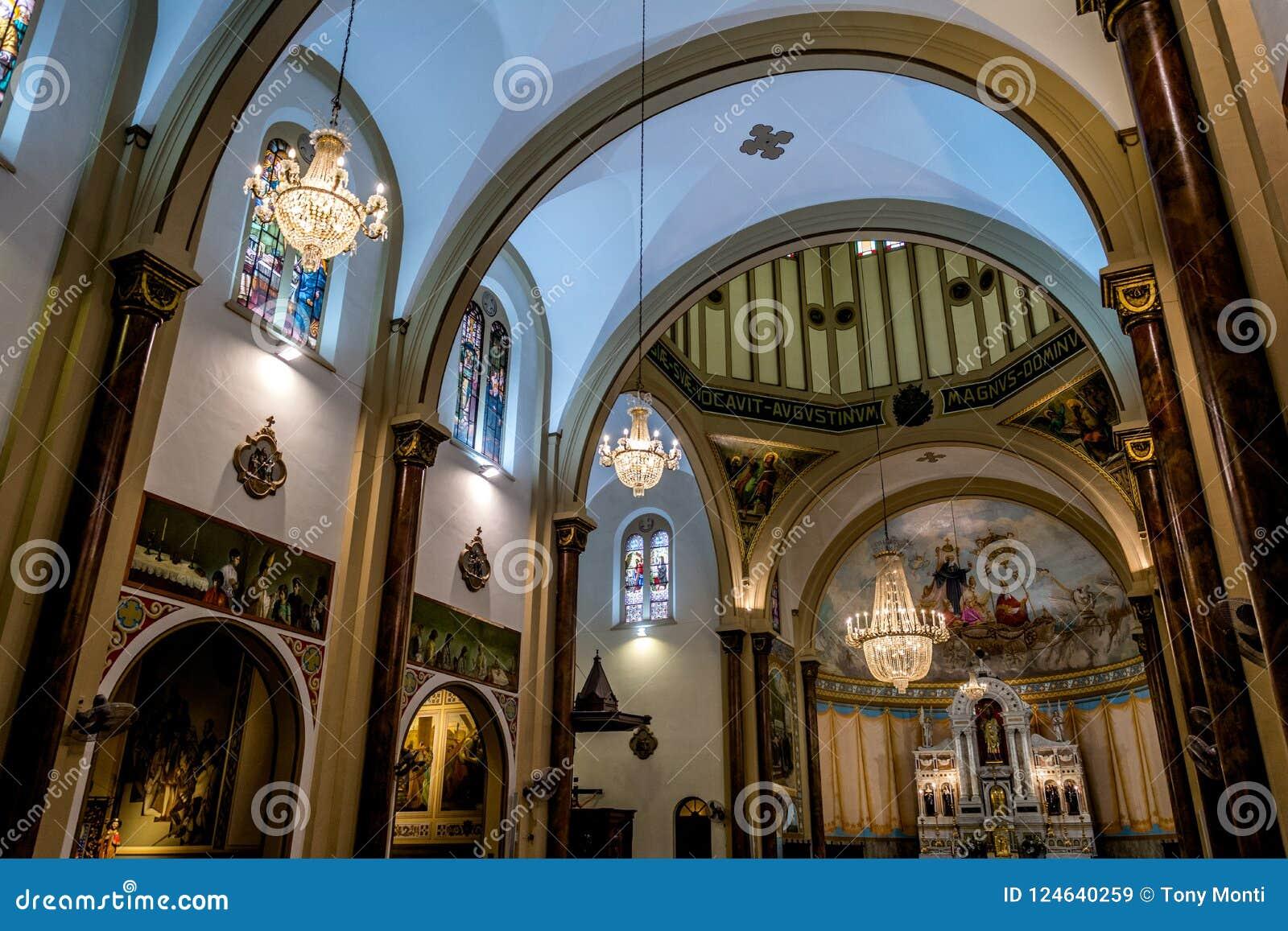 Wewnętrzny widok Świątobliwy Augustin kościół w Sao Paulo, Brazylia
