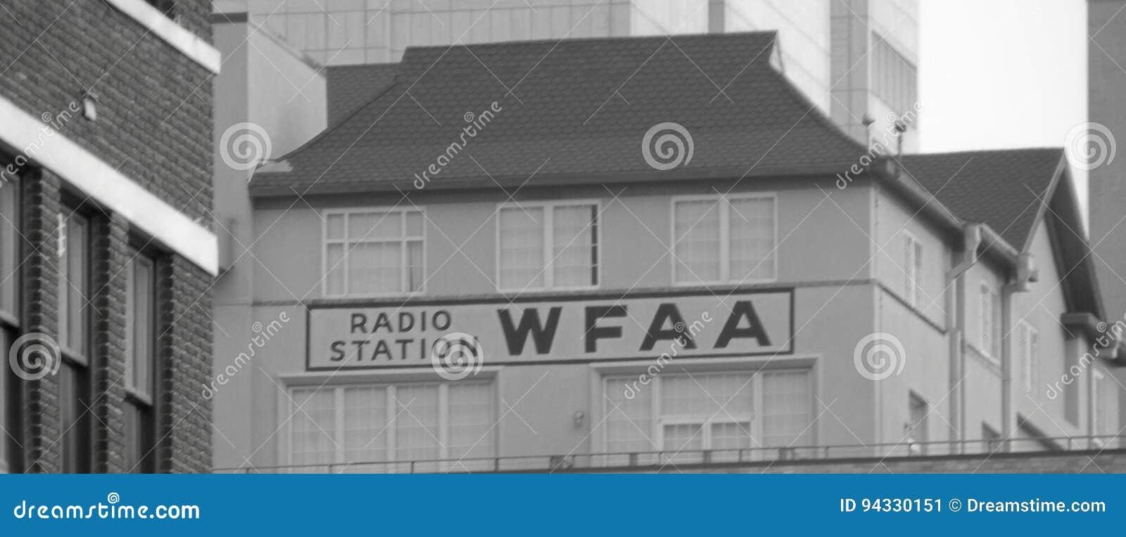 WFAA Radio Station Sign - Dallas TX Editorial Photo - Image
