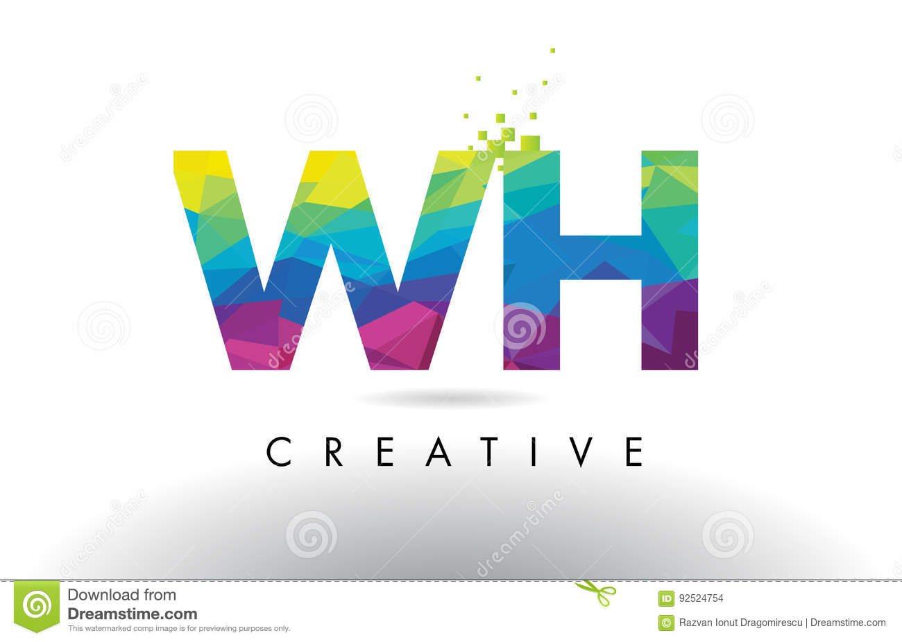 wh w h creative rainbow colors alphabet letter logo icon stock