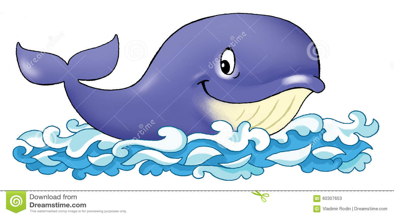 Whale Funny Cartoon Blue Pattern Stock Illustration - Image: 60307653