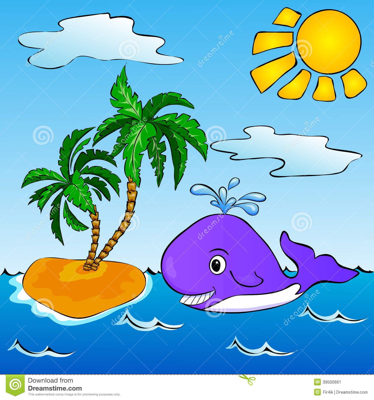 Whale near the tropical island with palms