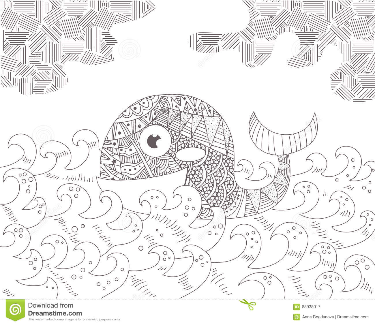 ocean background coloring pages - ornated cartoons illustrations vector stock images