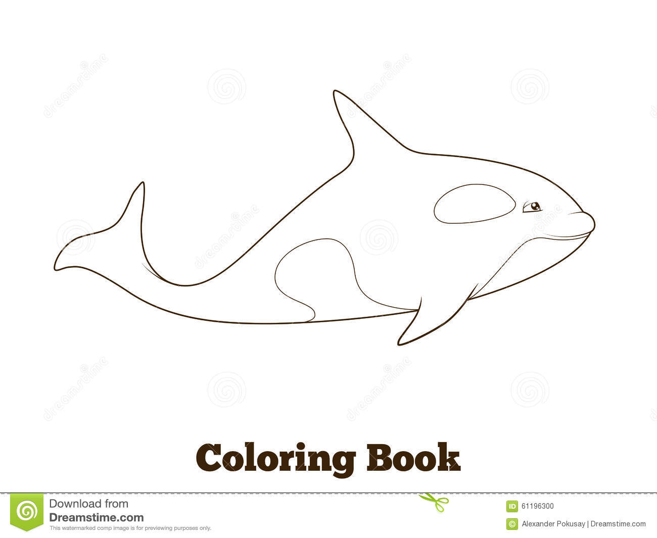 Coloring book whale - Whale Orca Cartoon Coloring Book Vector