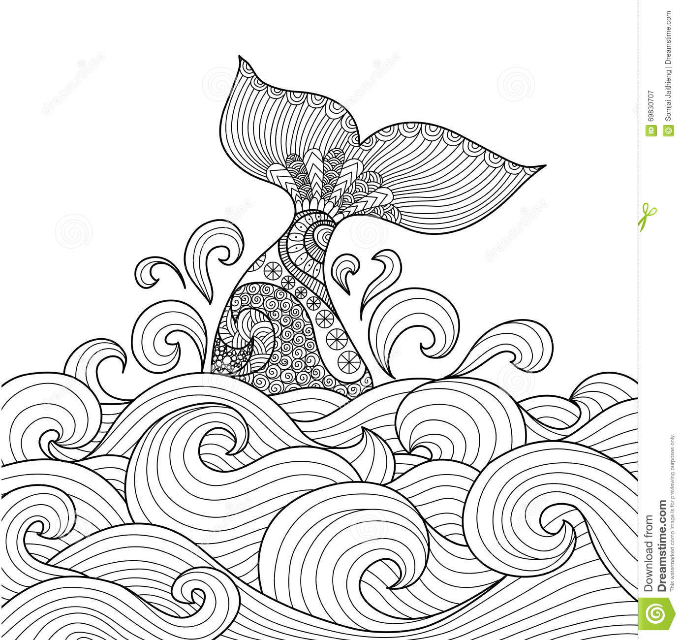Line Art Card Design : Whale cartoons illustrations vector stock images
