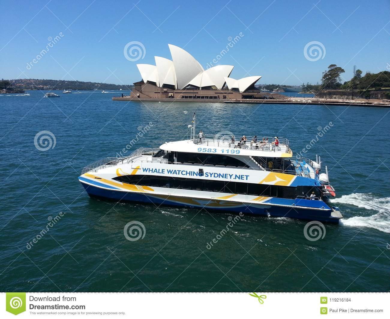 Whale Watching Boat leaving Sydney harbour