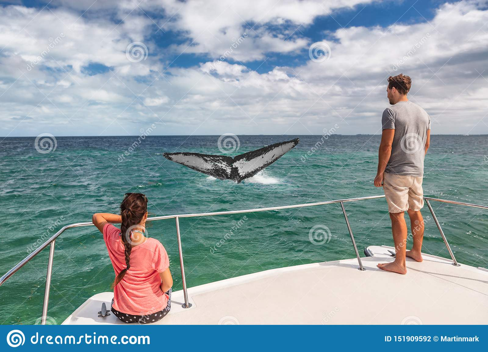 Whale watching boat tour tourists people on ship looking at humpback tail breaching ocean in tropical destination, summer travel