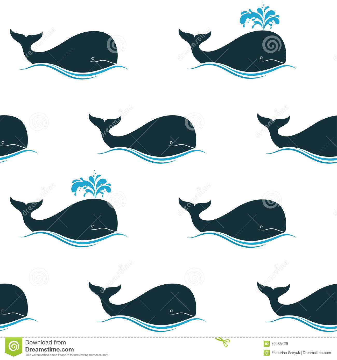 whales seamless background stock vector image 70485429