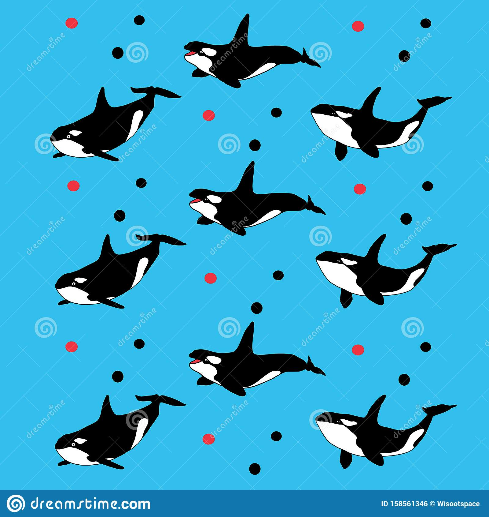 Whales Seamless Pattern Cute Characters Vector Illustration