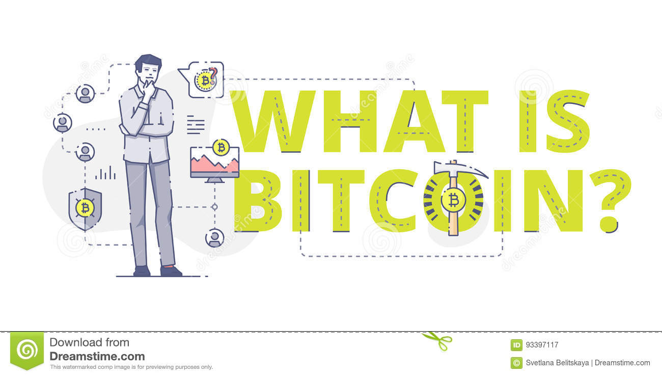 What Is Bitcoin Web Banner Royalty Free Illustration
