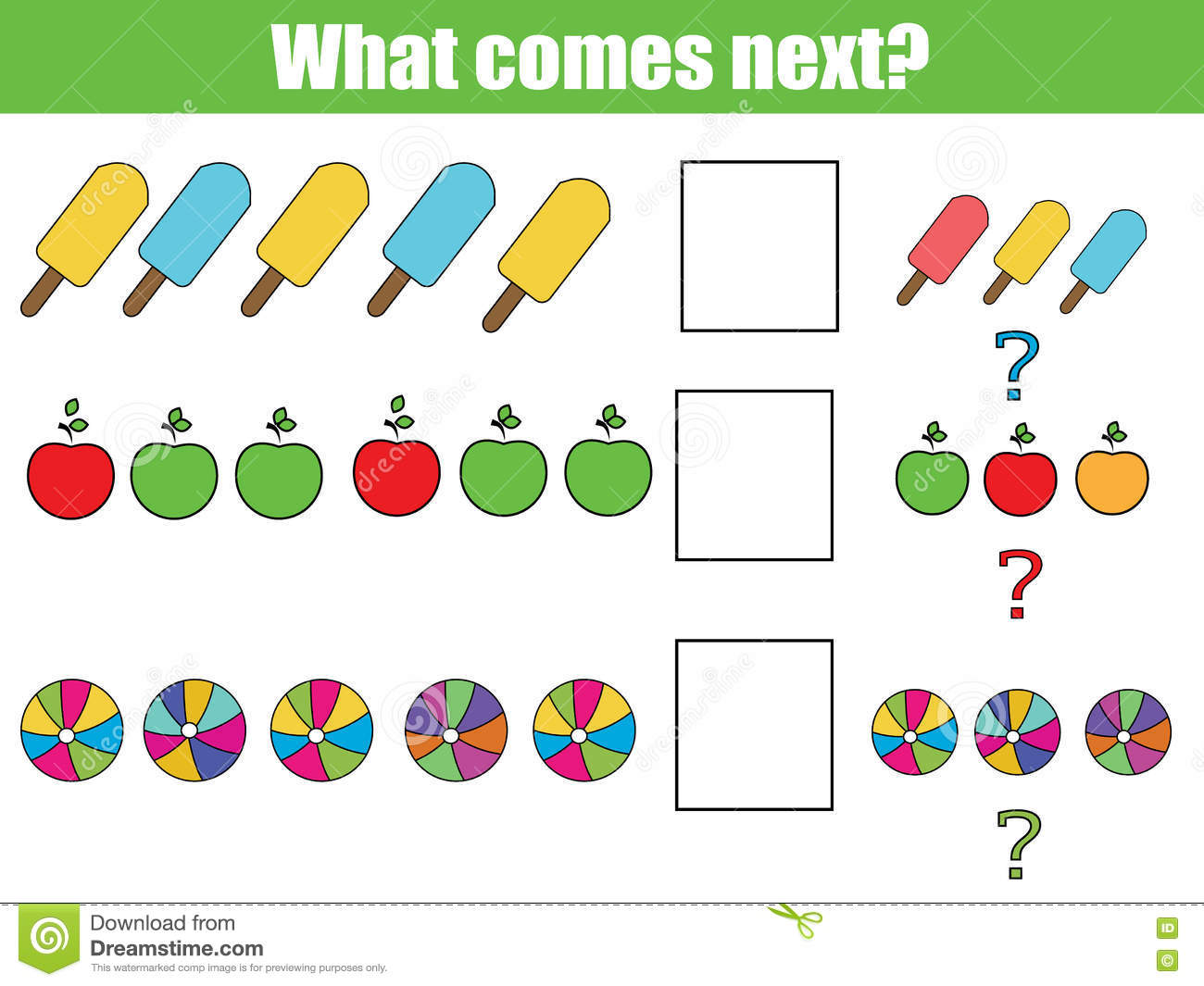what comes next educational children game kids activity sheet continue the row task royalty - Kids Activity Sheet