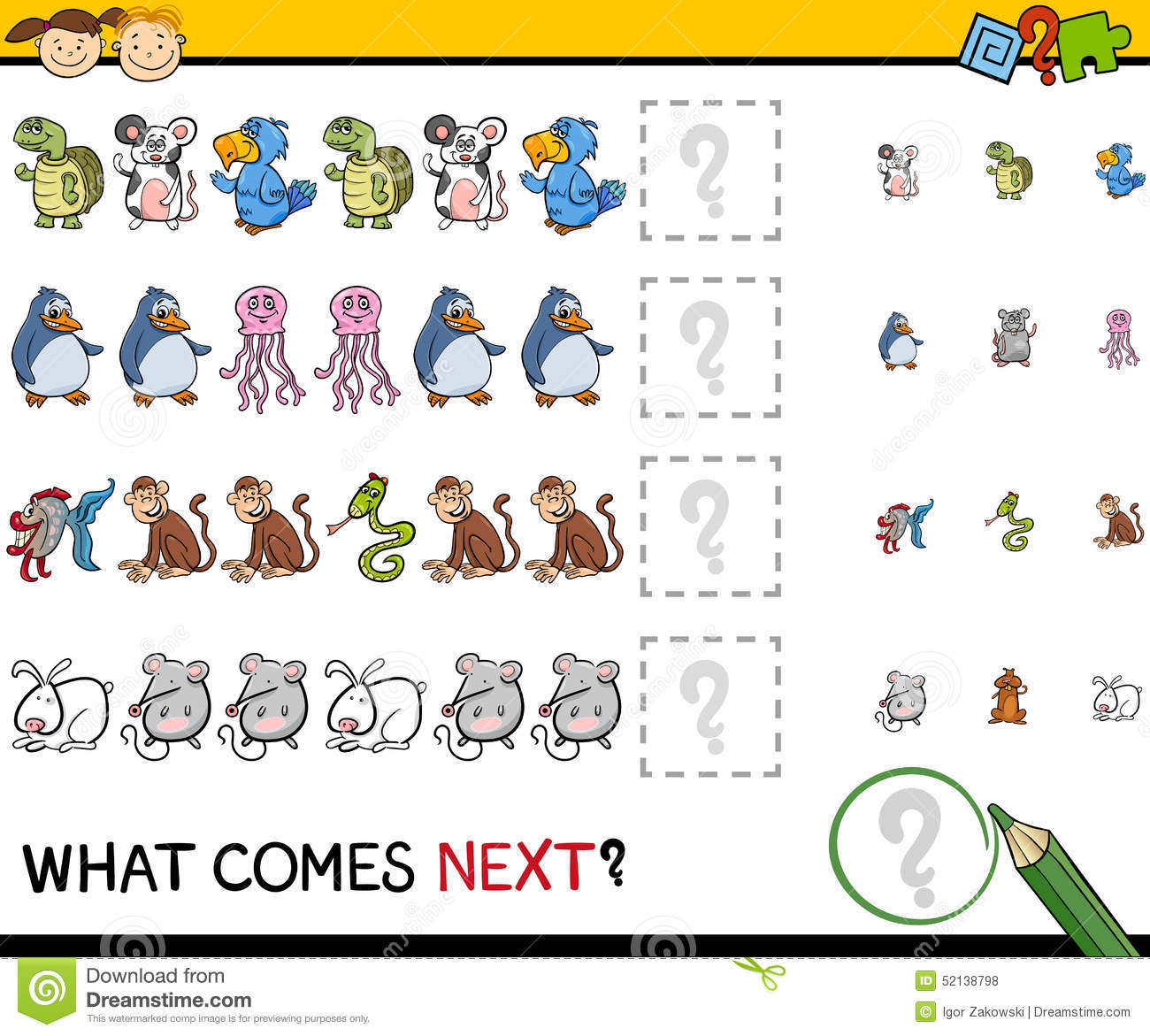 Free Worksheets more or less worksheets preschool : What Comes Next Game Cartoon Stock Vector - Image: 52138798
